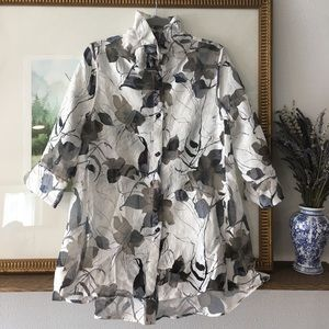 IC Connie K Sheer Wire Collar Tunic Blouse Shirt